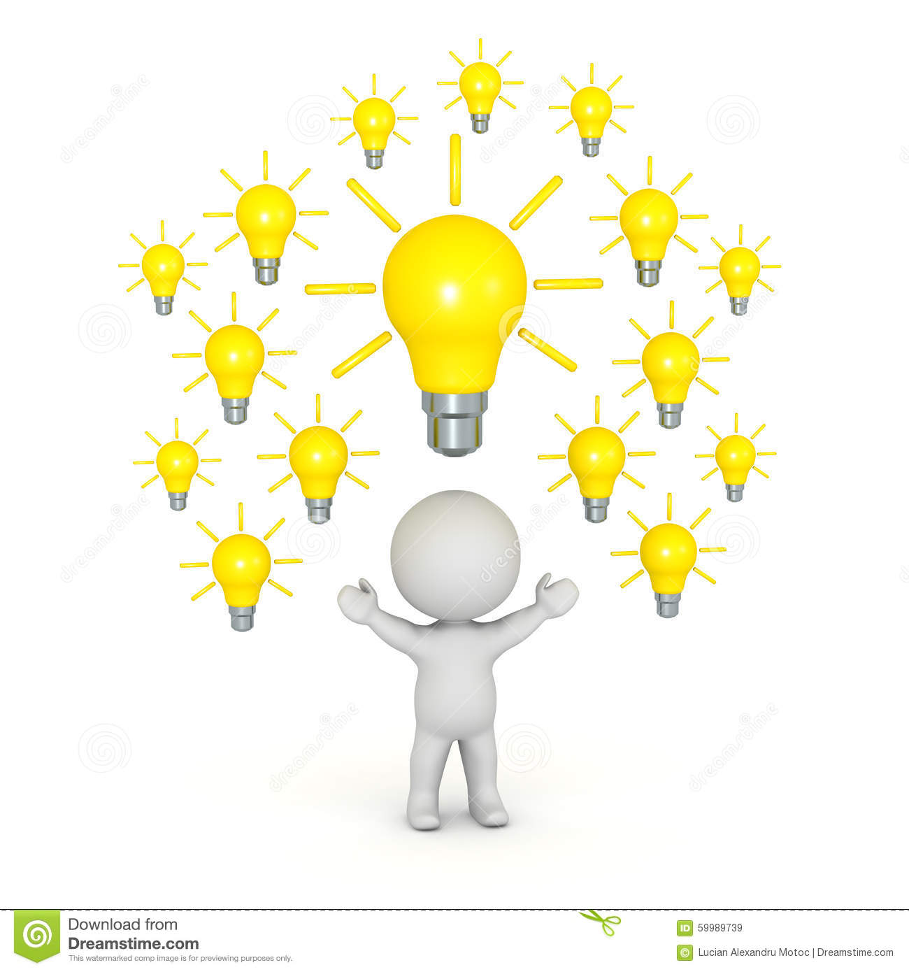3D Character With Many Light Bulbs Above His Head Stock Illustration Image 59989739