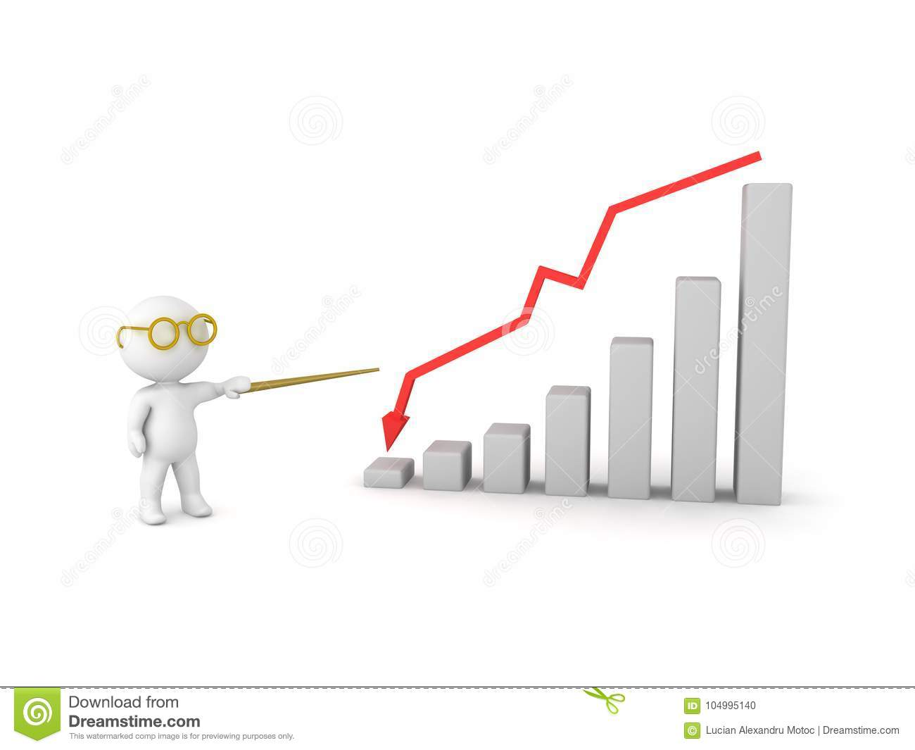 3D Character pointing at graph showing decline