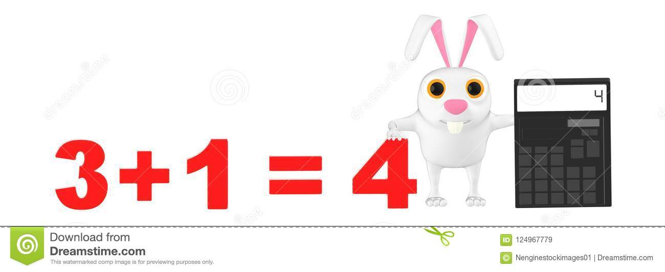 3d Character Rabbit Presenting A Calculator And 3 1  4