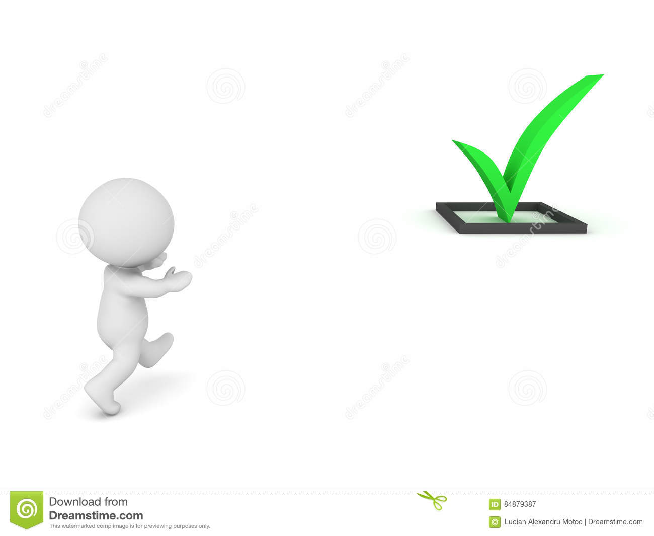 3d Character Running After A Check Symbol Stock Illustration