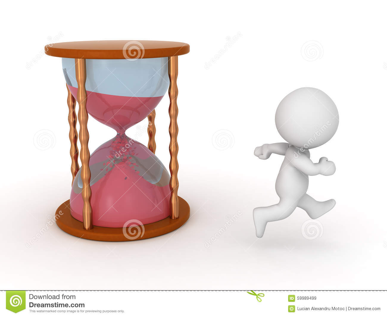 3D Character Running From Hourglass - Time Passing Concept