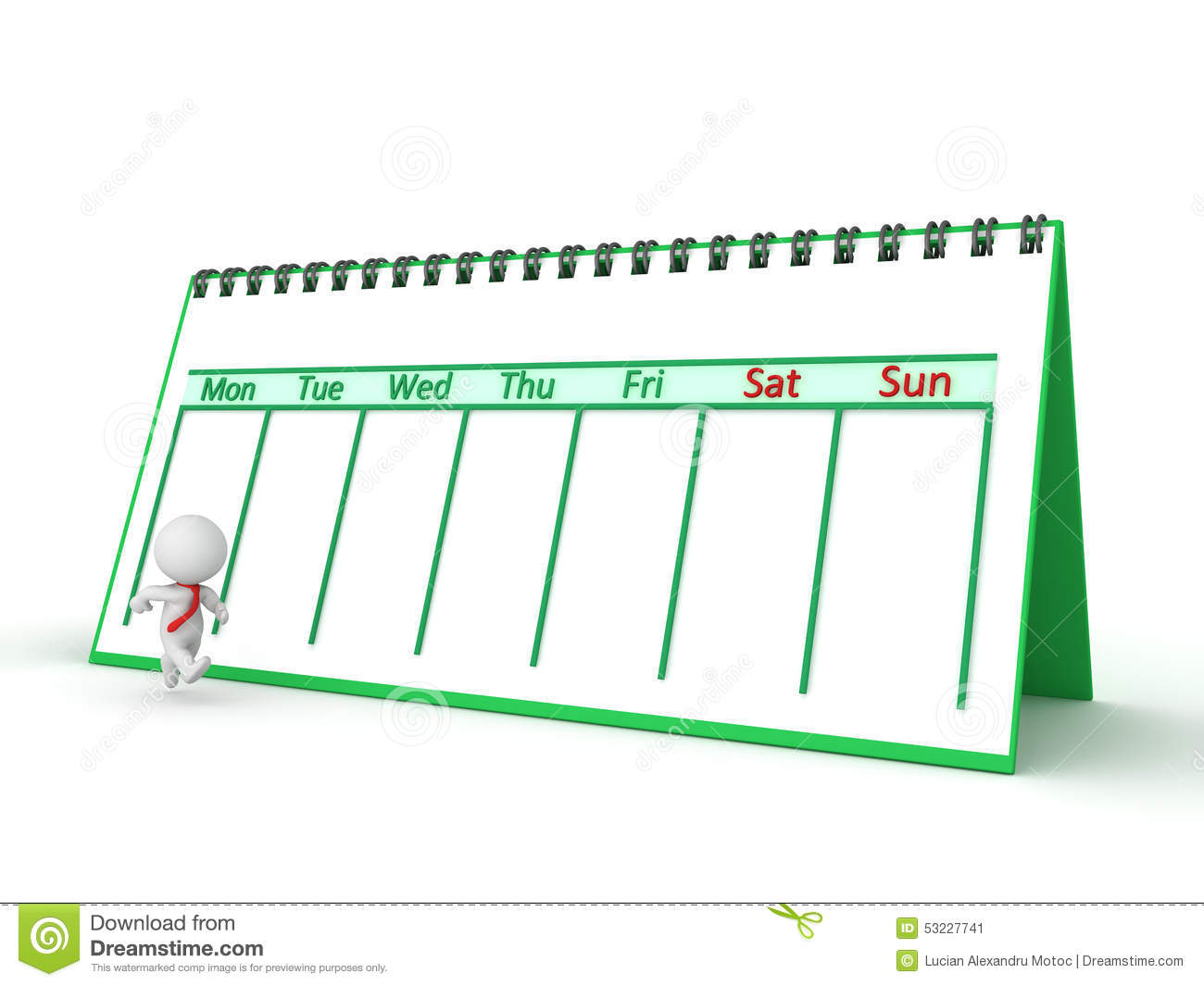 3D Character Running Through The Work Week With Calendar Stock ...