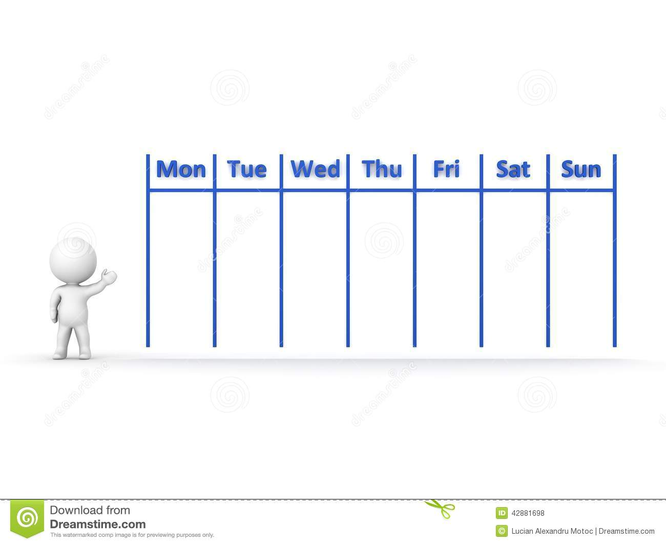 3d character showing calendar for week stock illustration