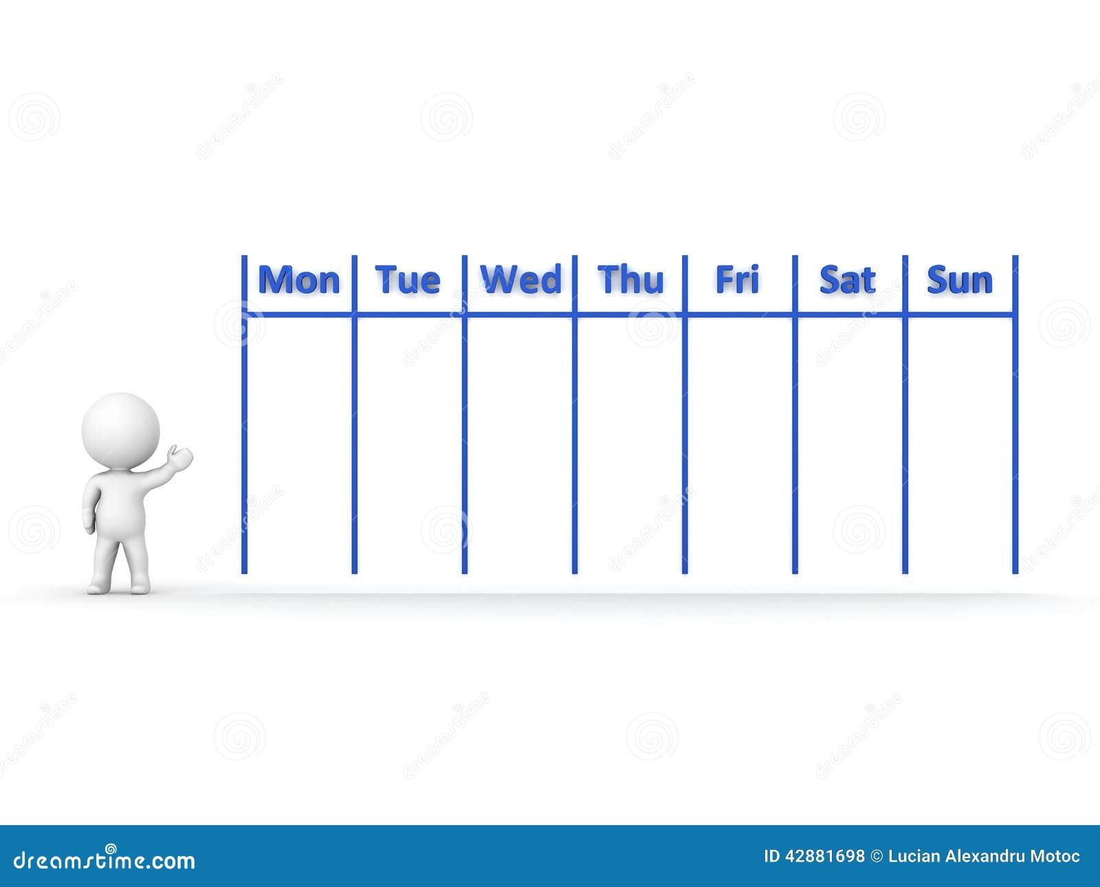 Weekly Calendar Cartoon : D character showing calendar for week stock illustration