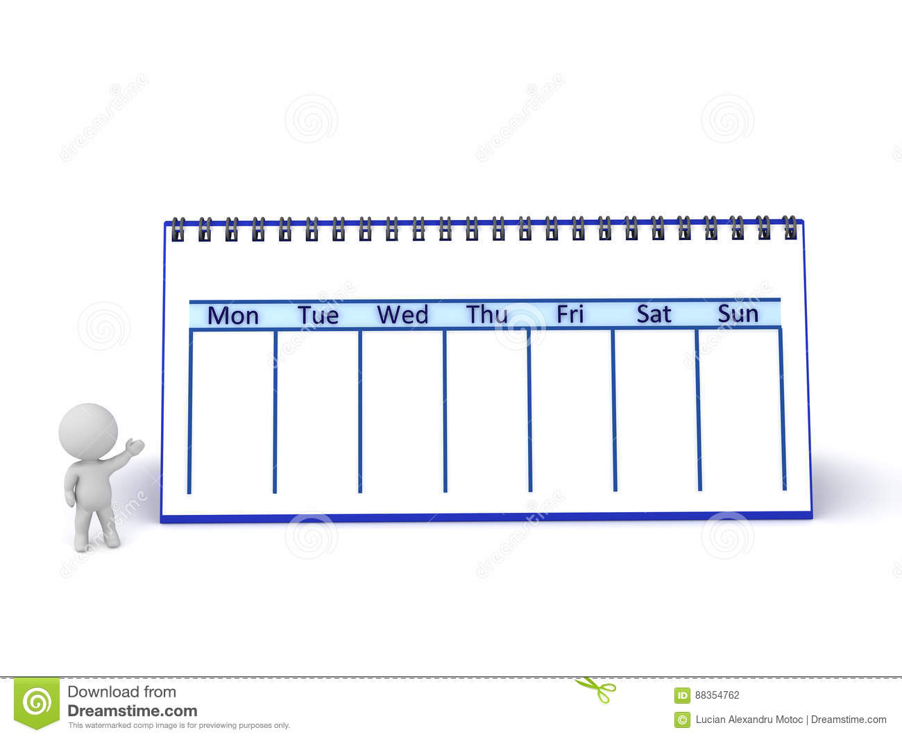 3d Character Showing Large Week Calendar Stock Illustration