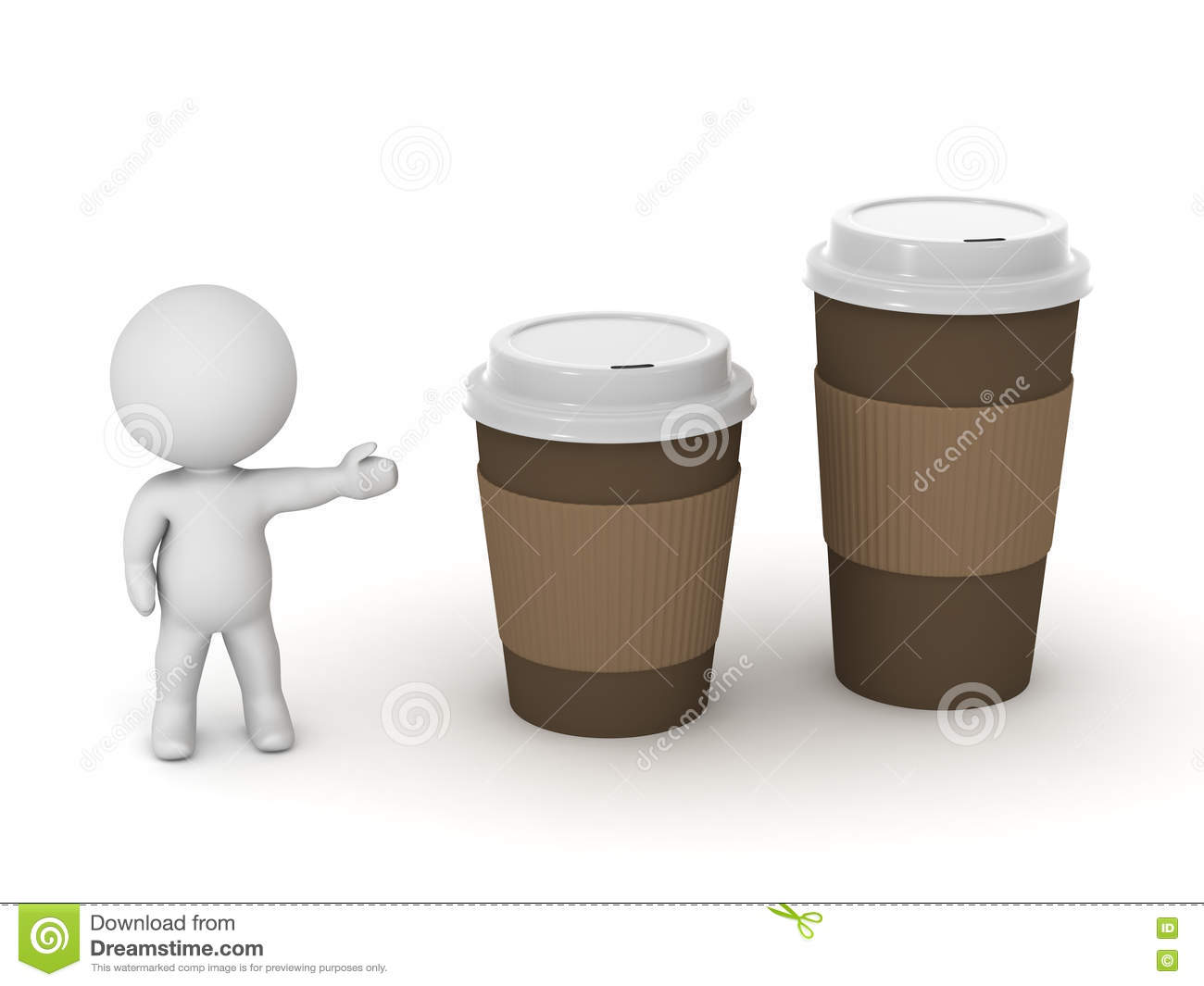 Small Pix Of Large Cups To : D character showing small coffee cup and large