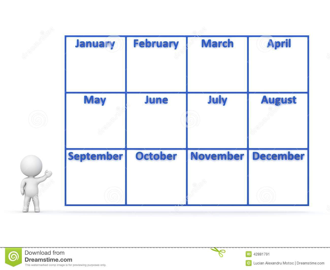 3d Character Showing Year Calendar With 12 Months Stock