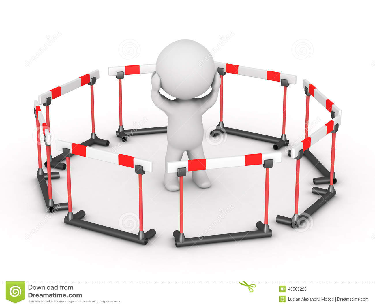 3d character surrounded by barriers stock illustration