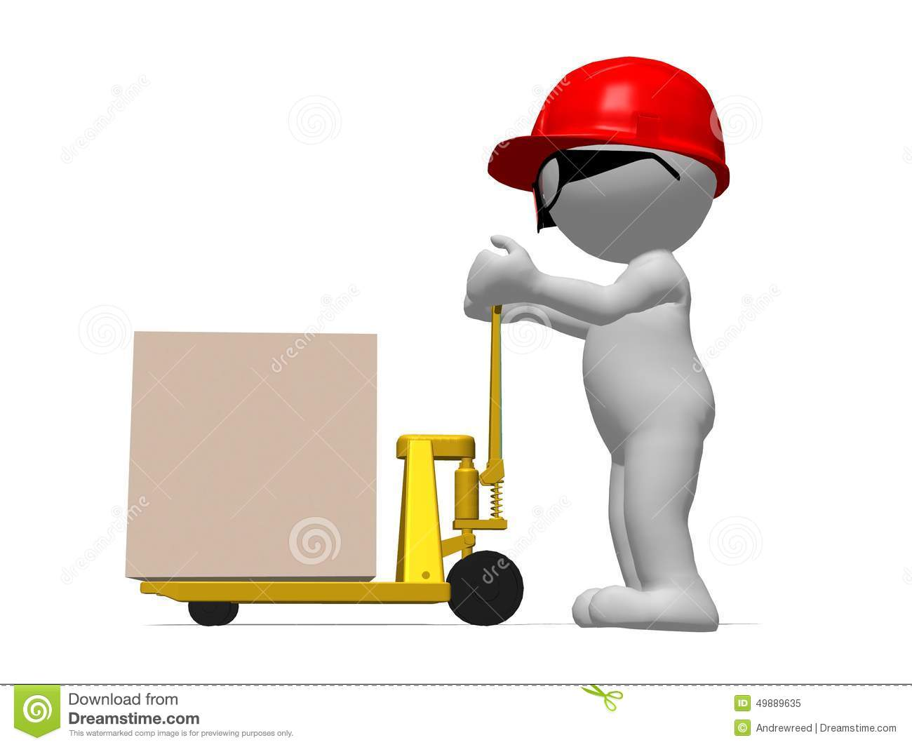 3d Character Workman With Red Hard Hat Pushing Pallet