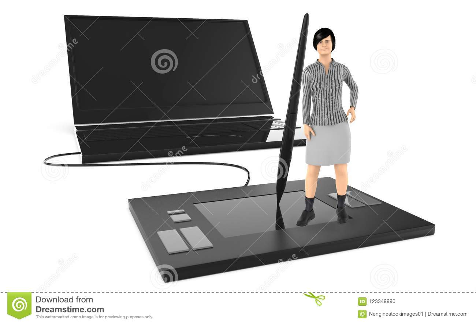 3d charakter, kobieta stoi nad wielką graficzną pastylką i opiera w kierunku stylus, blisko wielkiego latop