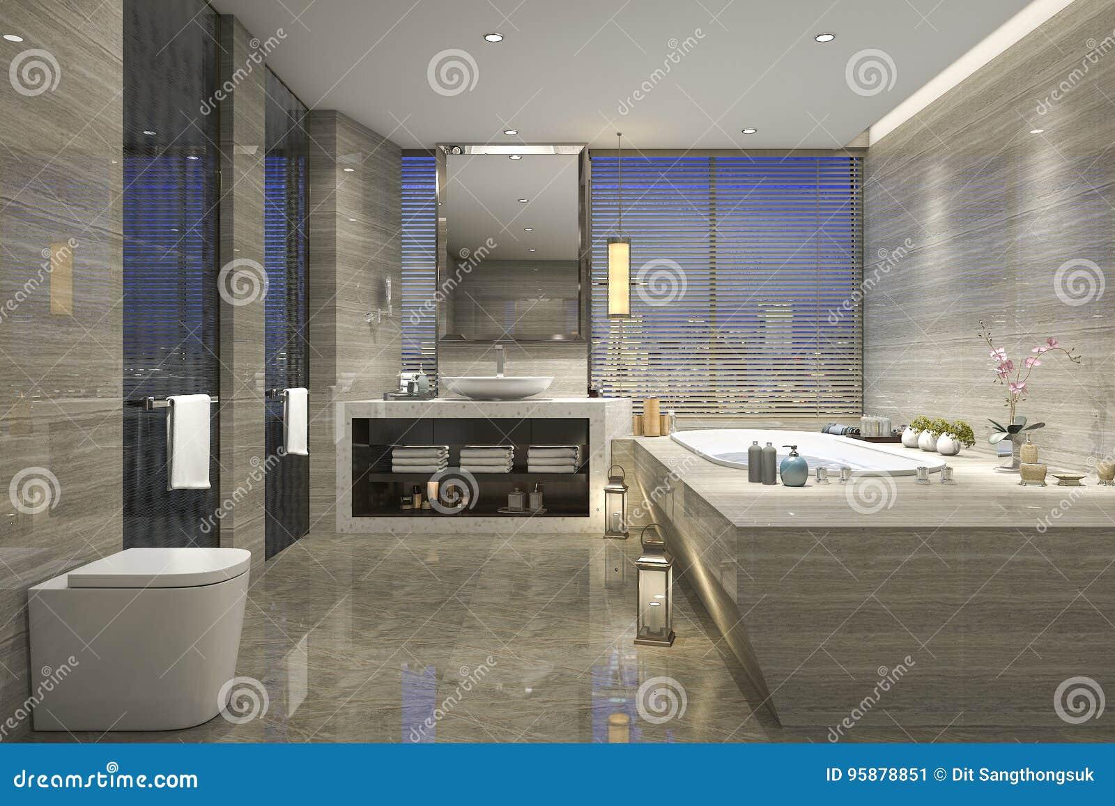 3d che rende bagno classico moderno con la decorazione di lusso