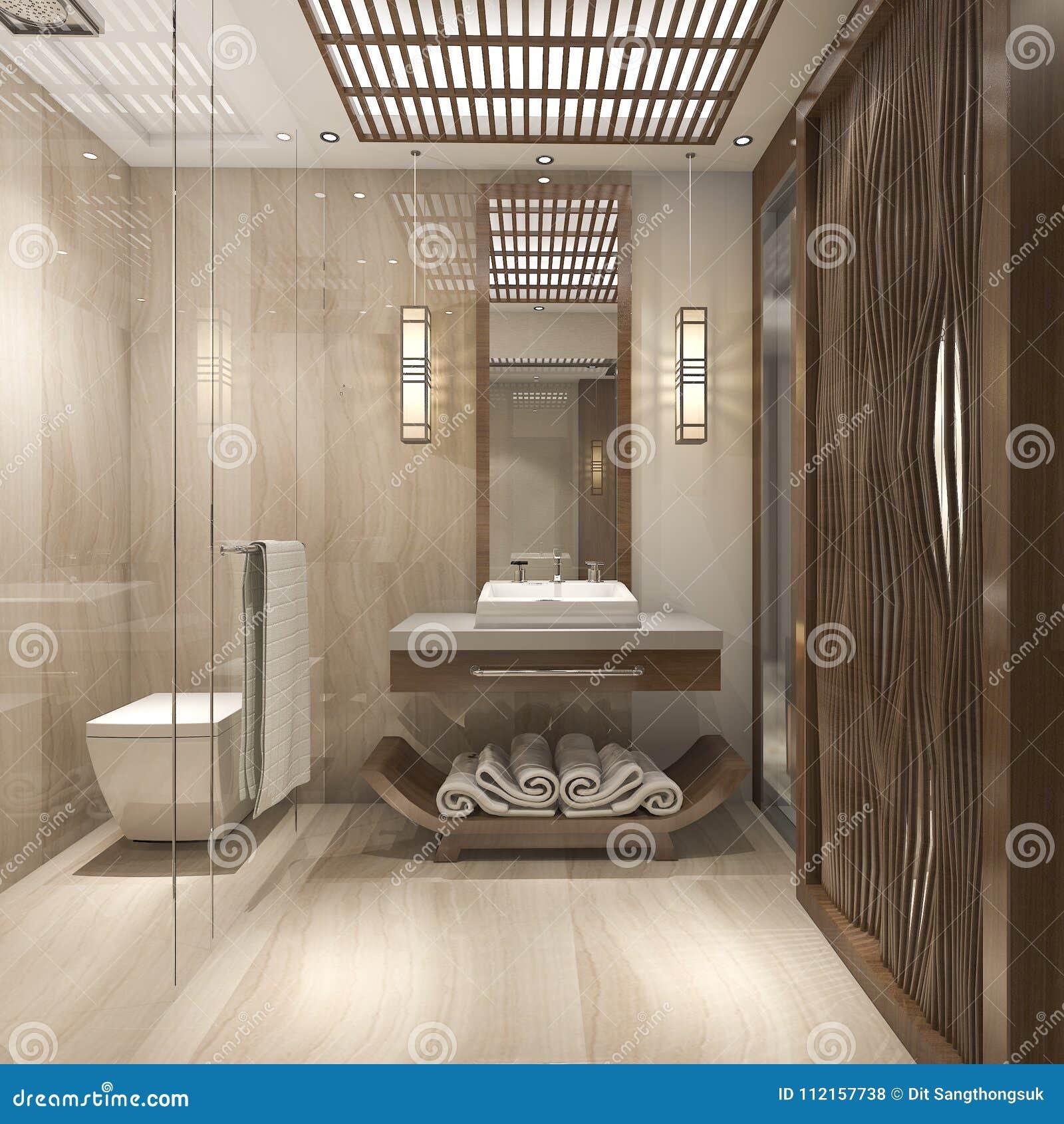 Bagni Di Lusso Moderni 3d che rende bagno di legno di lusso moderno nell'hotel
