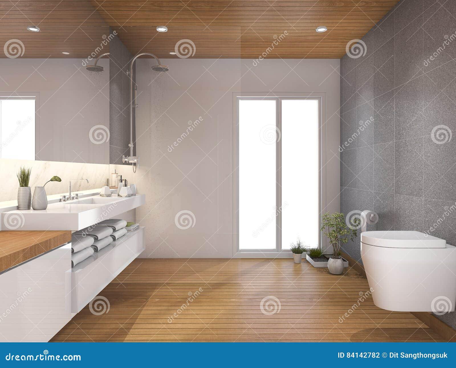 3d che rende bagno e toilette di legno moderni vicino alla ... - Bagni In Legno Moderni