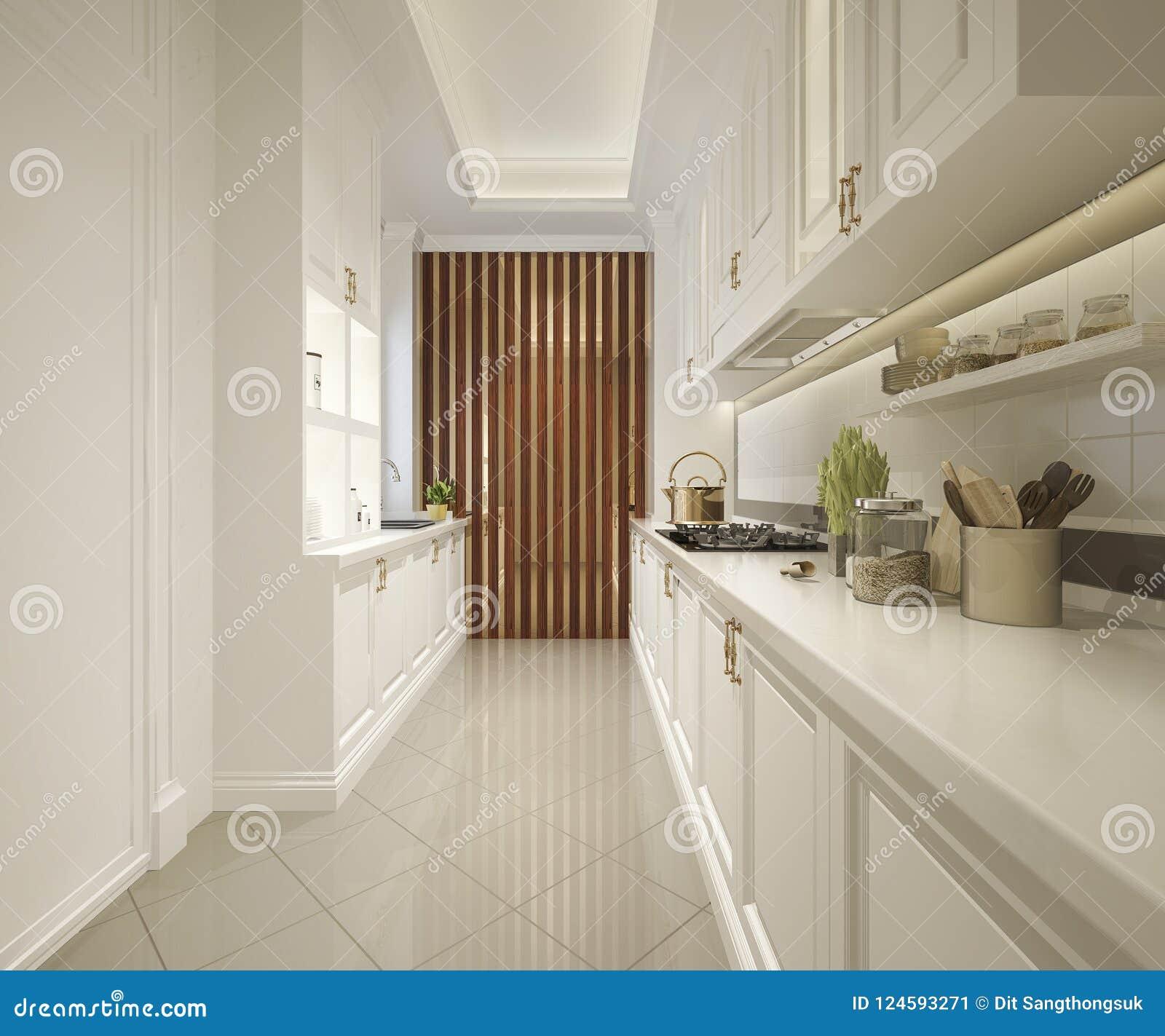 3d Che Rende Cucina Classica Bianca Con Progettazione Di ...