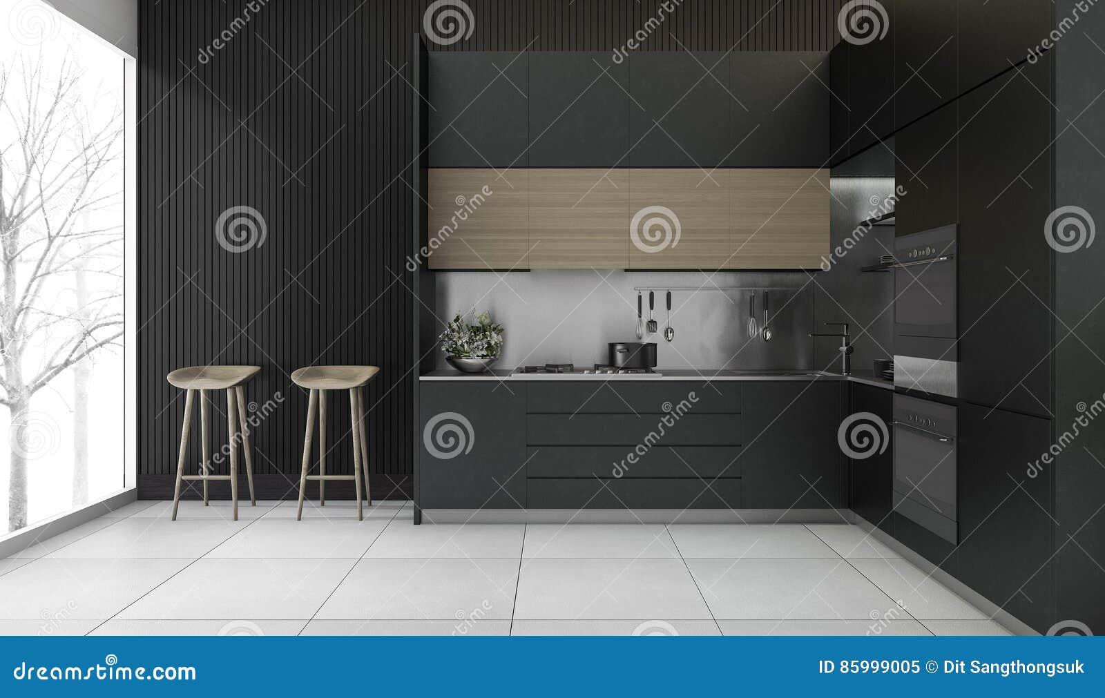 3d Che Rende Cucina Di Legno Scura Moderna Con La Vista Di ...