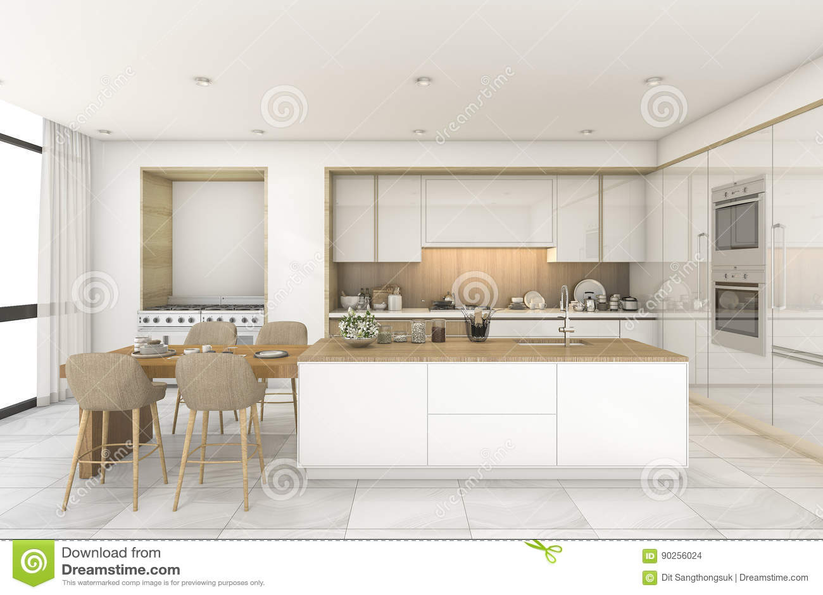 3d che rende cucina e sala da pranzo scandinave con le mattonelle