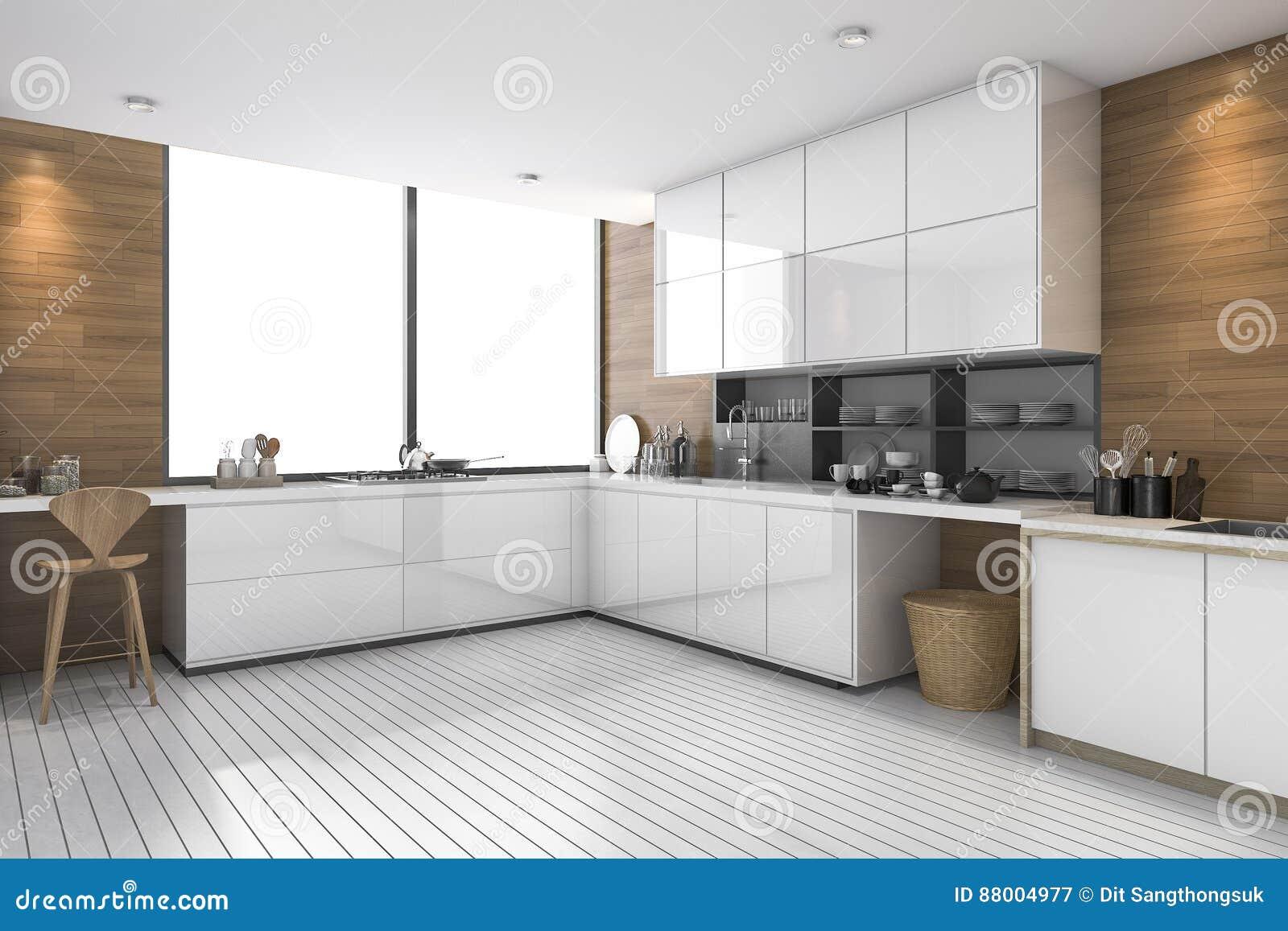 3d Che Rende Cucina Etnica Moderna Bianca Con Progettazione Di Legno ...