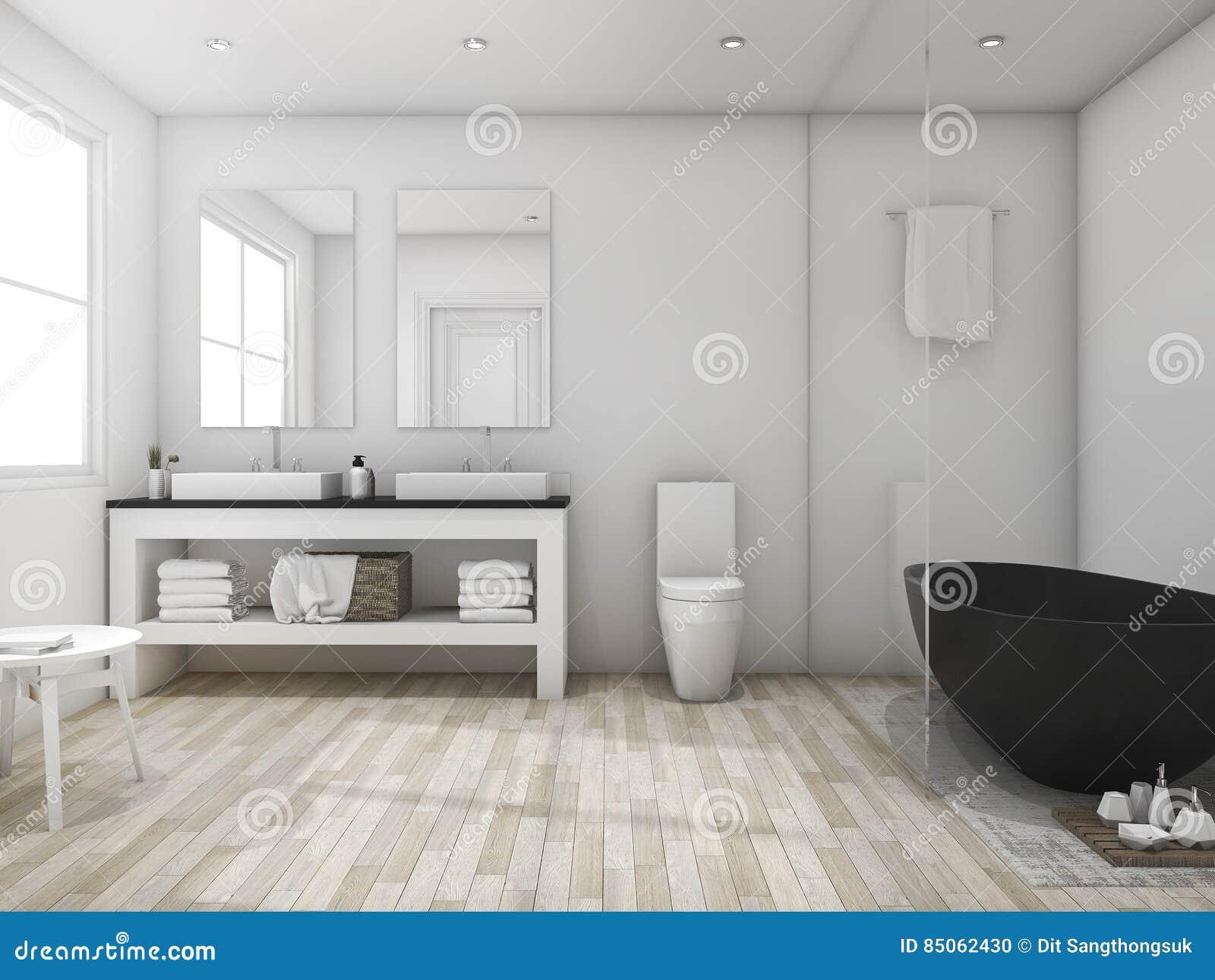 3d che rende il bagno minimo del sottotetto con la vasca nera illustrazione di stock immagine - Vasca da bagno nera ...