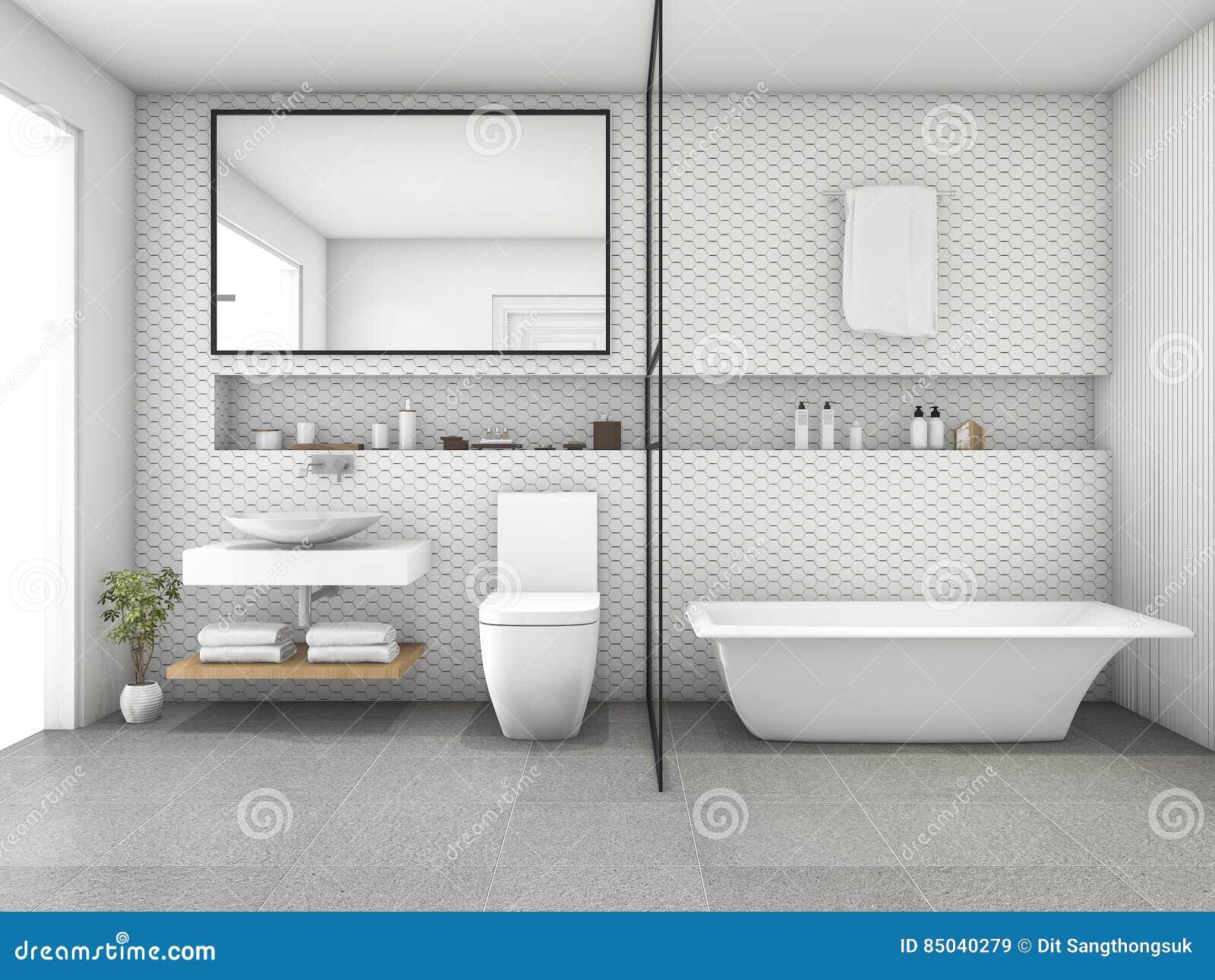 3d che rende il bagno moderno delle mattonelle bianche di esagono illustrazione di stock - Mattonelle bagno moderne ...