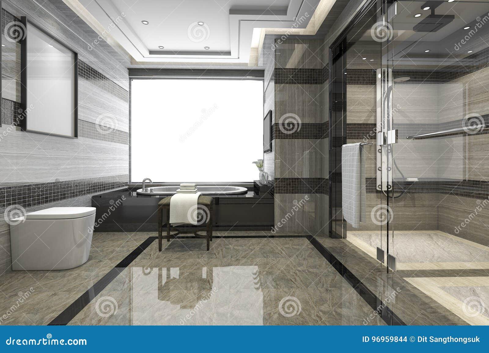 3d che rende il bagno moderno nero del sottotetto con la decorazione