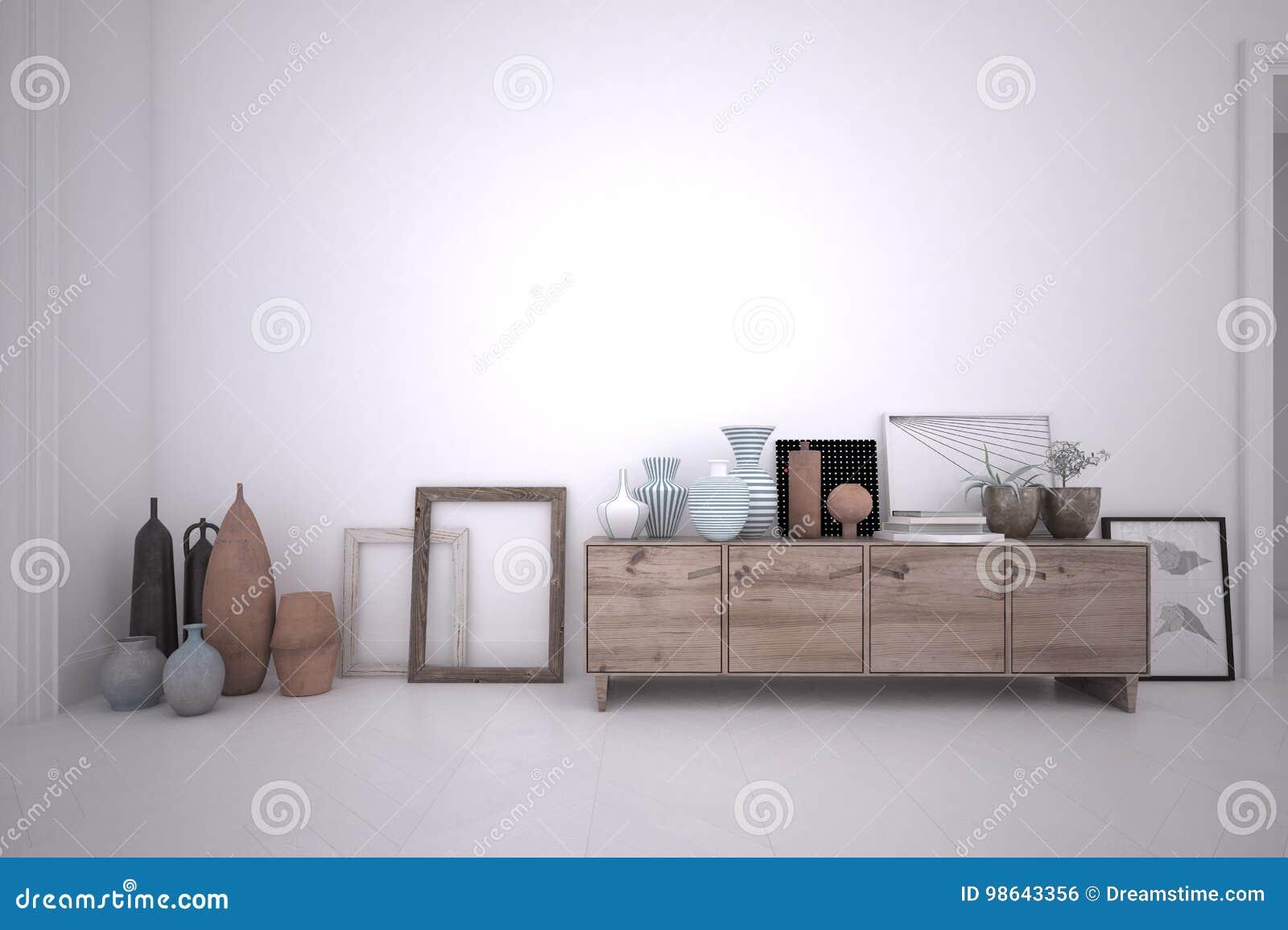 Credenza Para La Sala : 3d che rende interno di stanza con la credenza legno e
