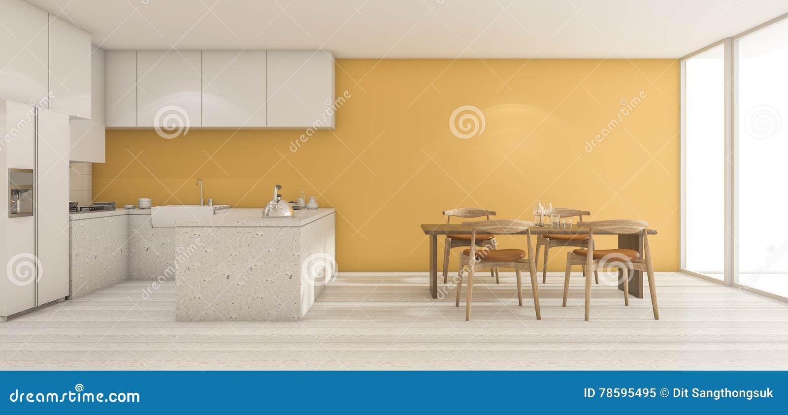 Tavoli Da Parete Cucina : D che rende l ampia cucina gialla della parete con il tavolo