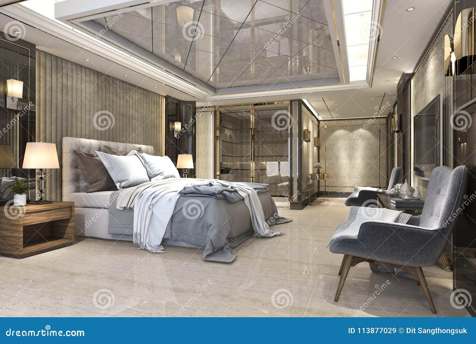 3d Che Rende La Bella Serie Di Camera Da Letto Di Lusso In Hotel Con ...