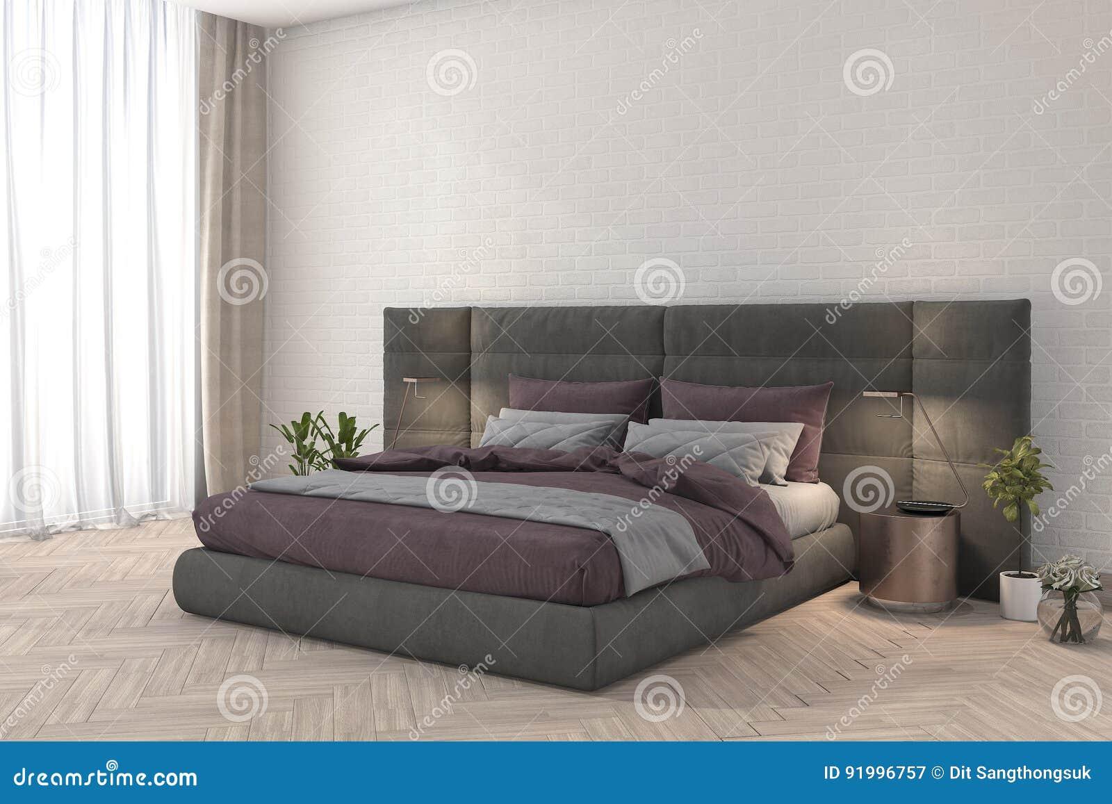 3d che rende la camera da letto rosa del tessuto con la lampada e