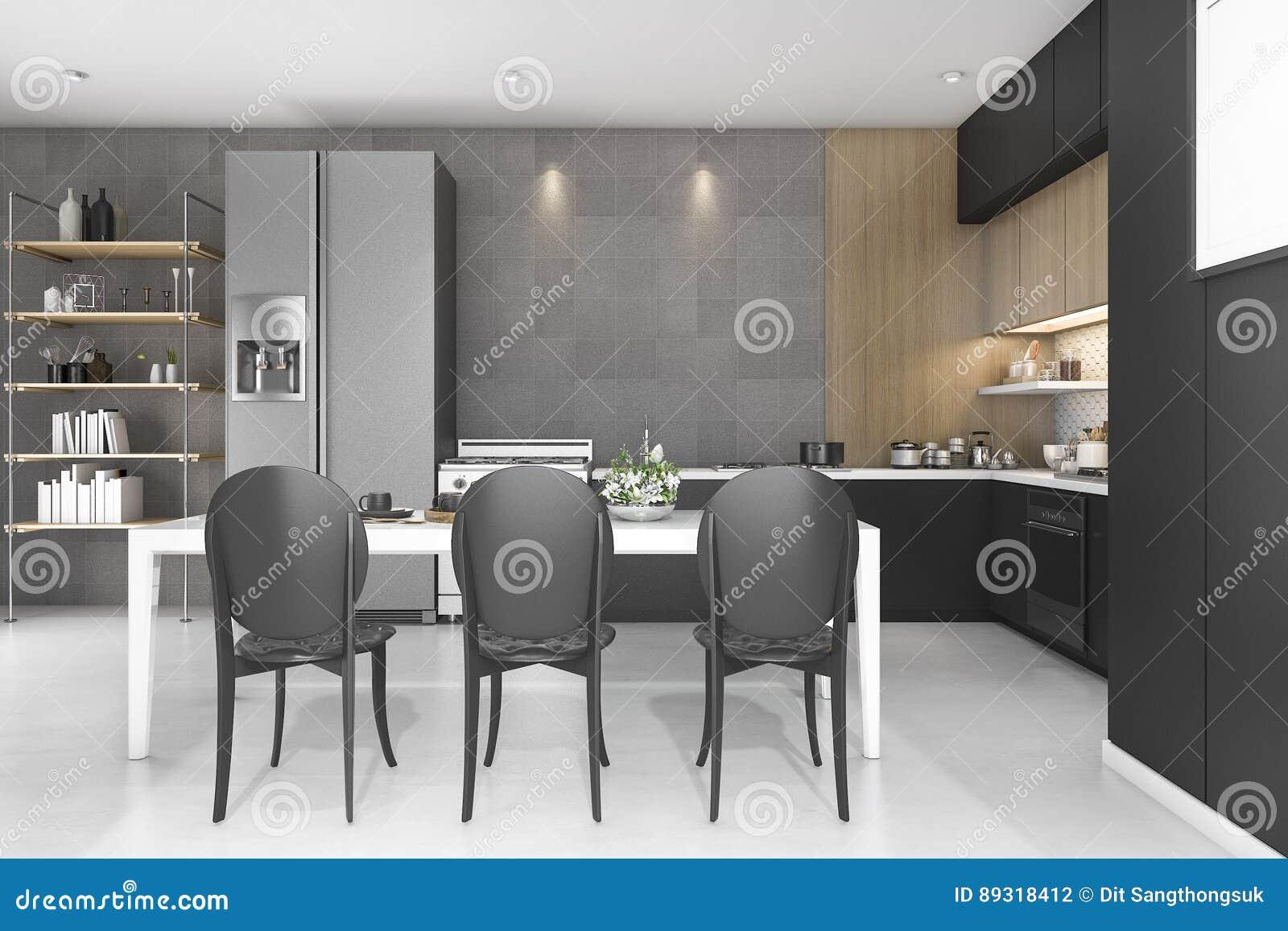D che rende la cucina nera della decorazione con progettazione di