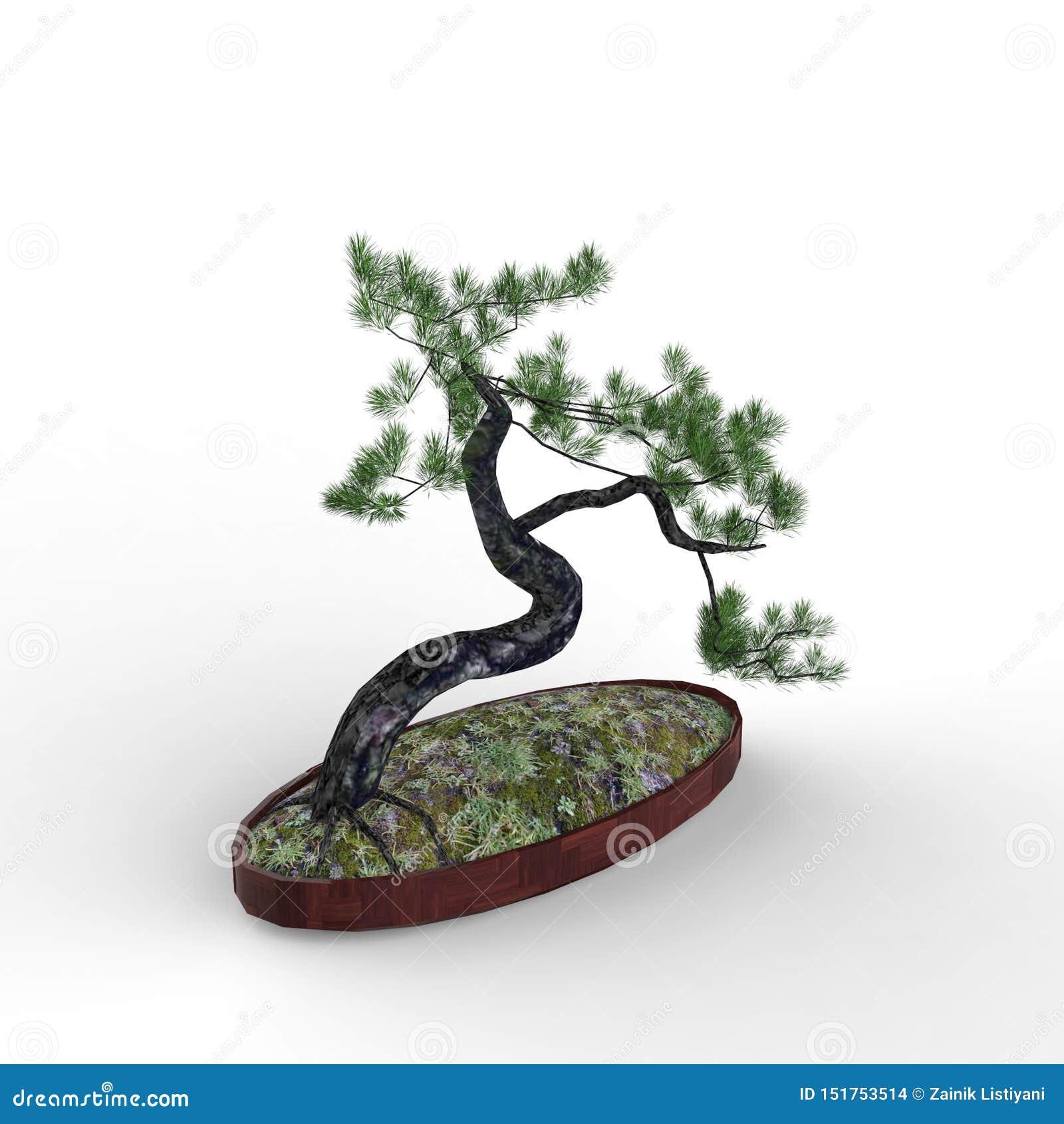 3d che rende un bonsai creato usando uno strumento del miscelatore