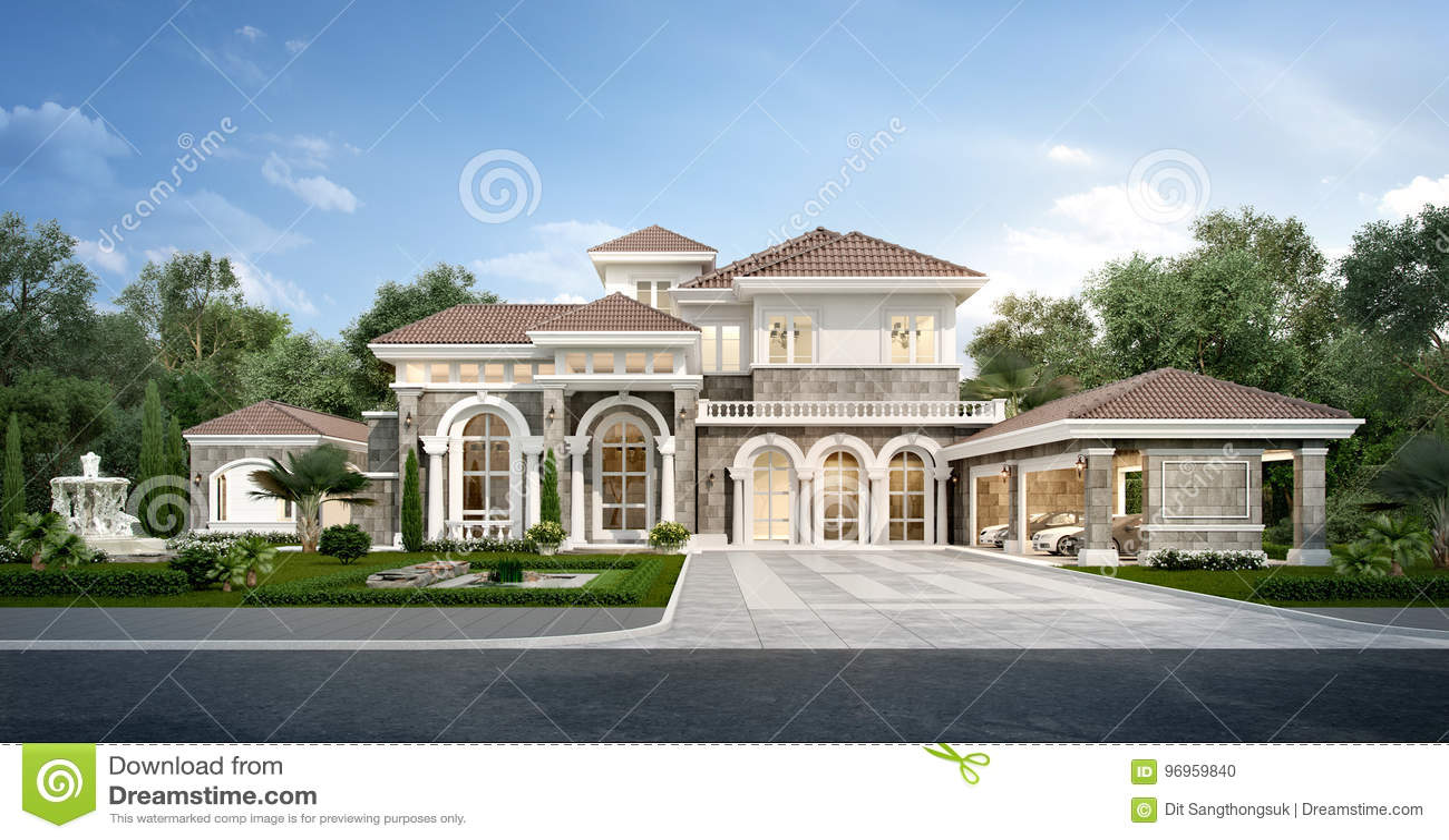 Casa Classica Moderna.3d Che Rendono La Casa Classica Moderna Con Progettazione Di