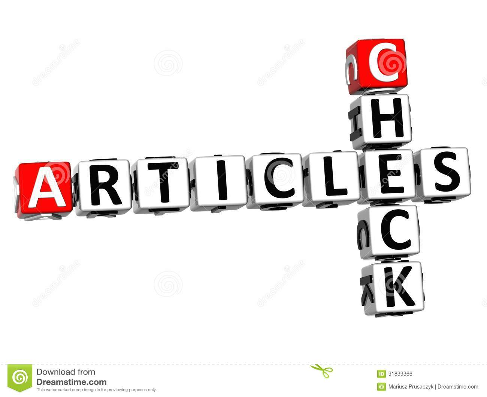 3D Check Articles Crossword