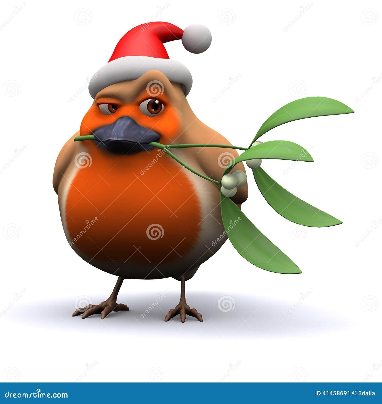 3d cheeky santa robin with mistletoe stock illustration image