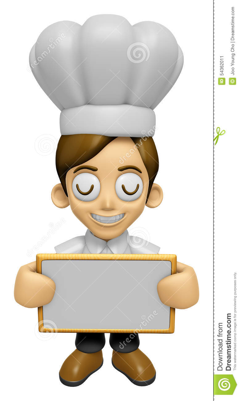3d chef man mascot holding a big board with both hands for Character designer job