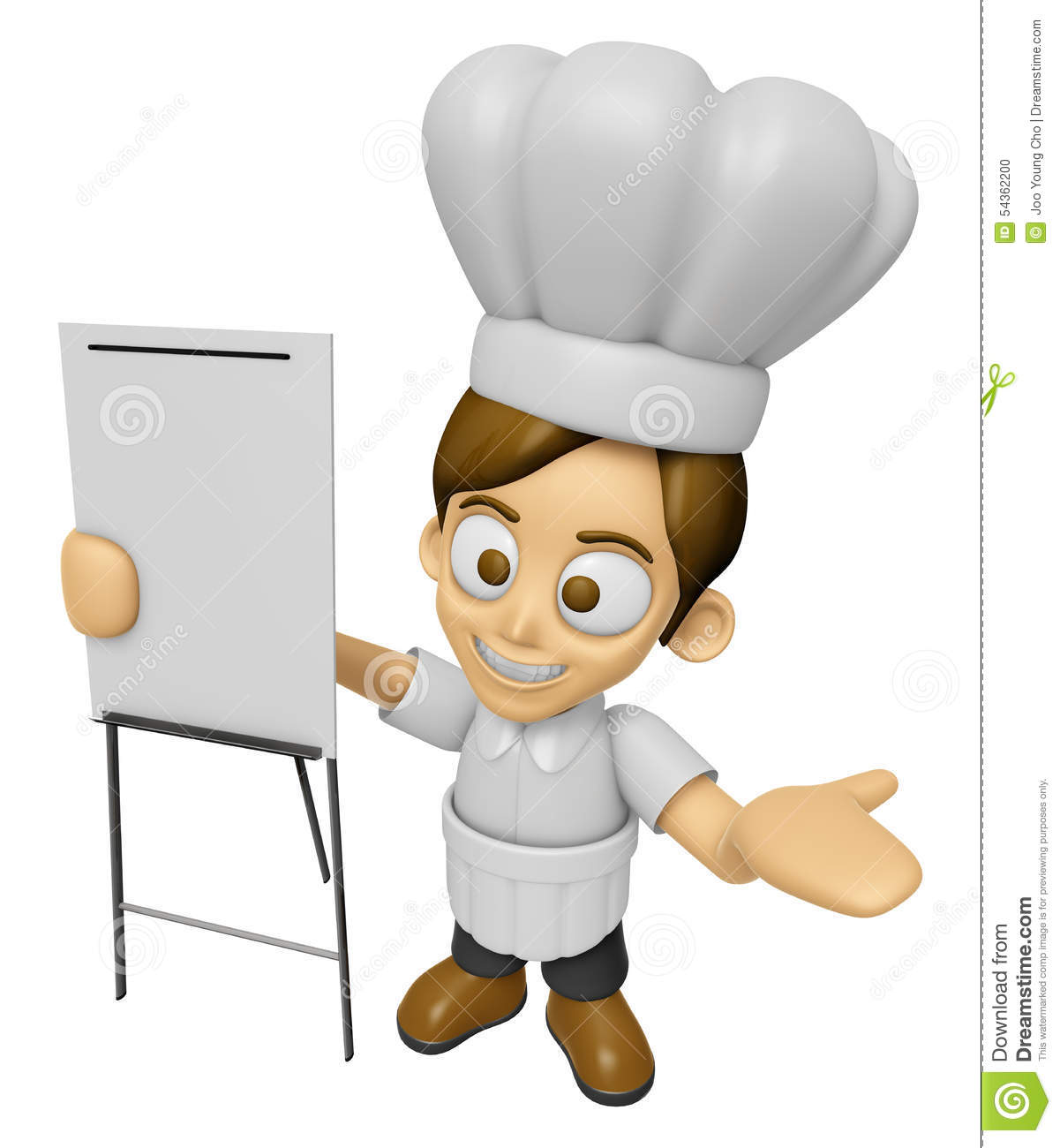 Character Design Presentation : D chef man mascot is presentation in front of the a