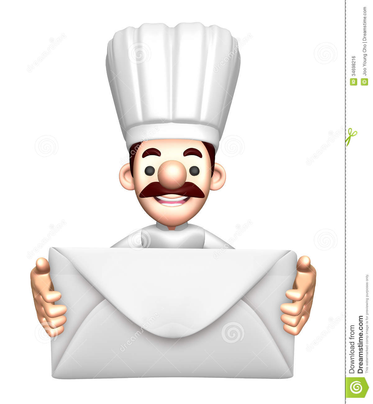 Character Design Letter : D chef mascot holding a large letter royalty free stock