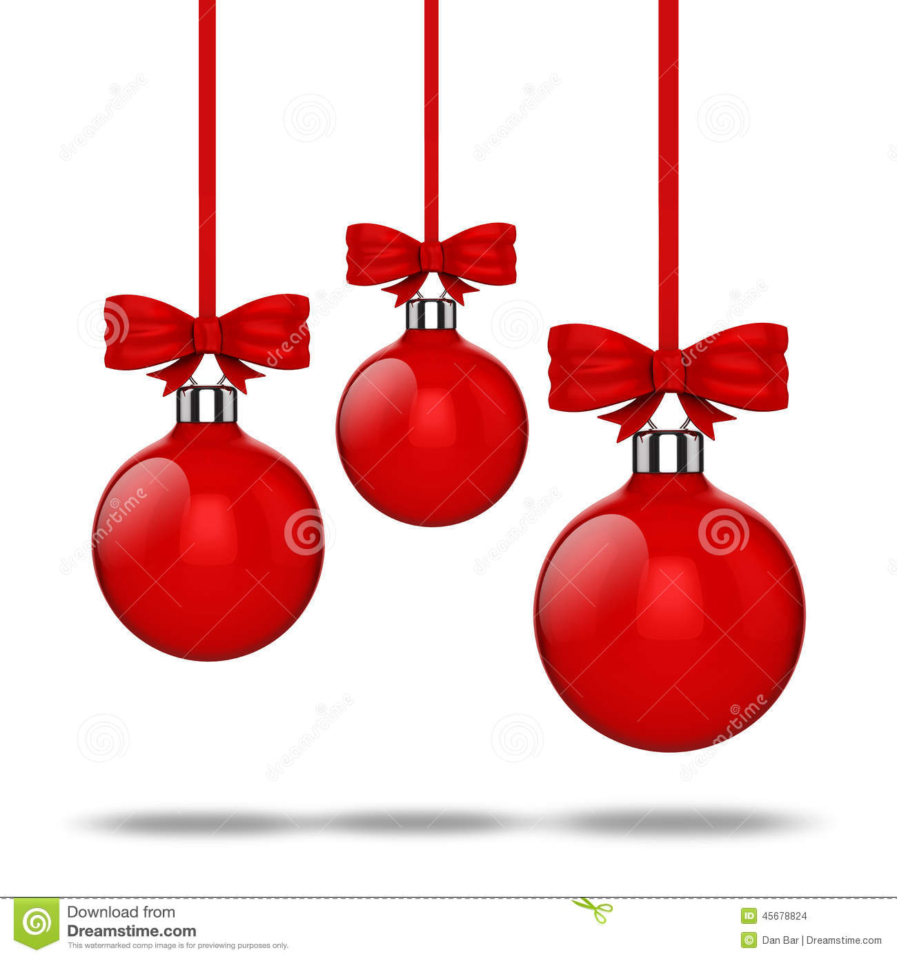 3d Christmas Ball Ornaments With Red Ribbon And Bows Stock ...