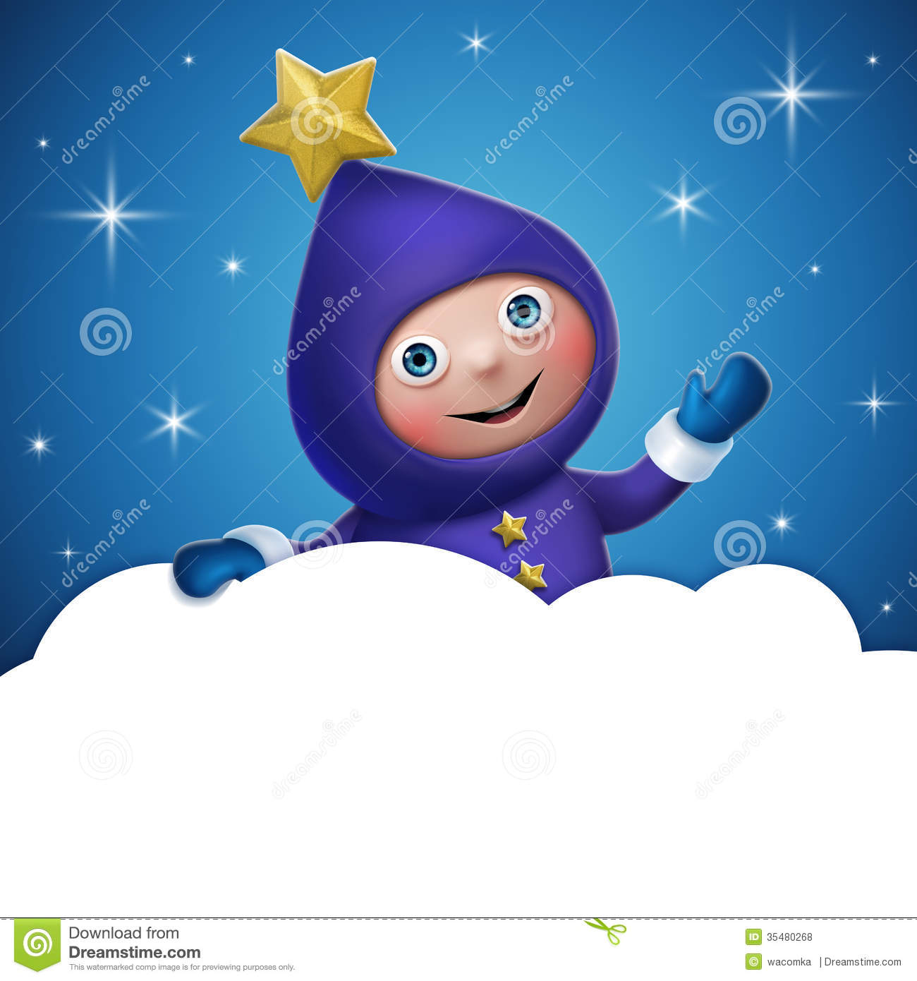 3d christmas elf toy character with cloud banner stock illustration