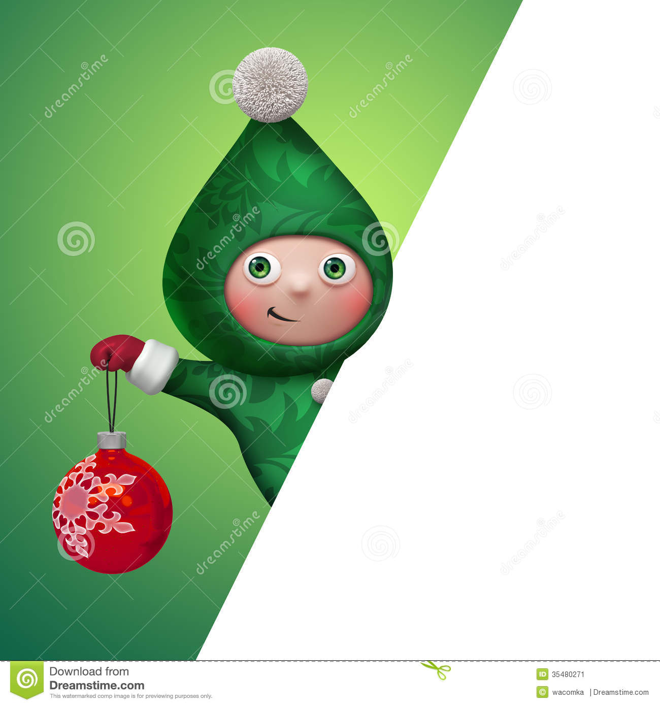 3d Christmas Elf Toy Character Holding Ball Stock ...