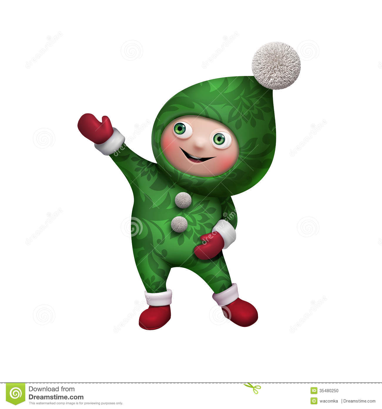 3d Christmas Elf Toy Character Isolated On White Stock Photo ...