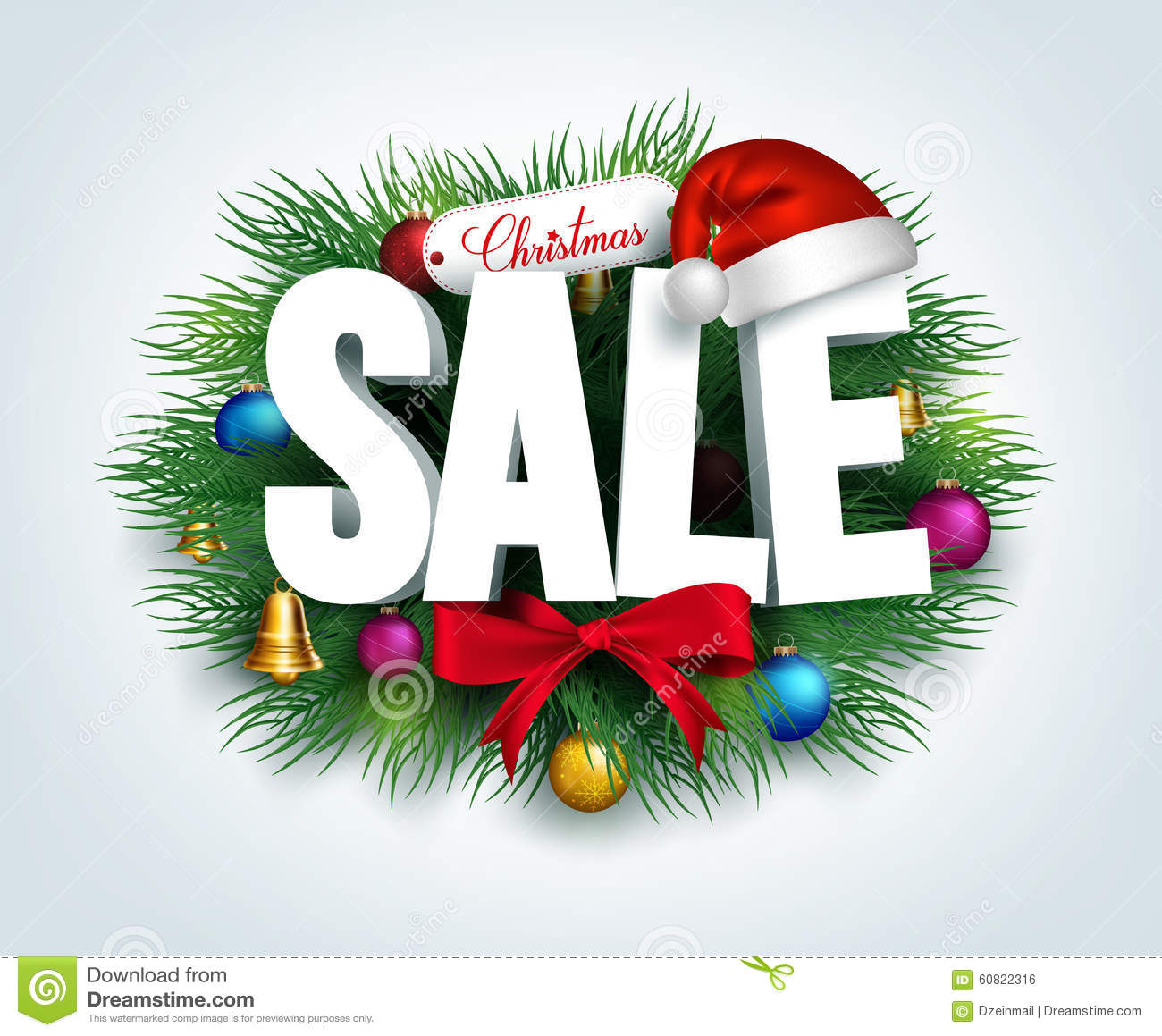 3D Christmas Sale Text For Promotion Stock Vector - Illustration of ...