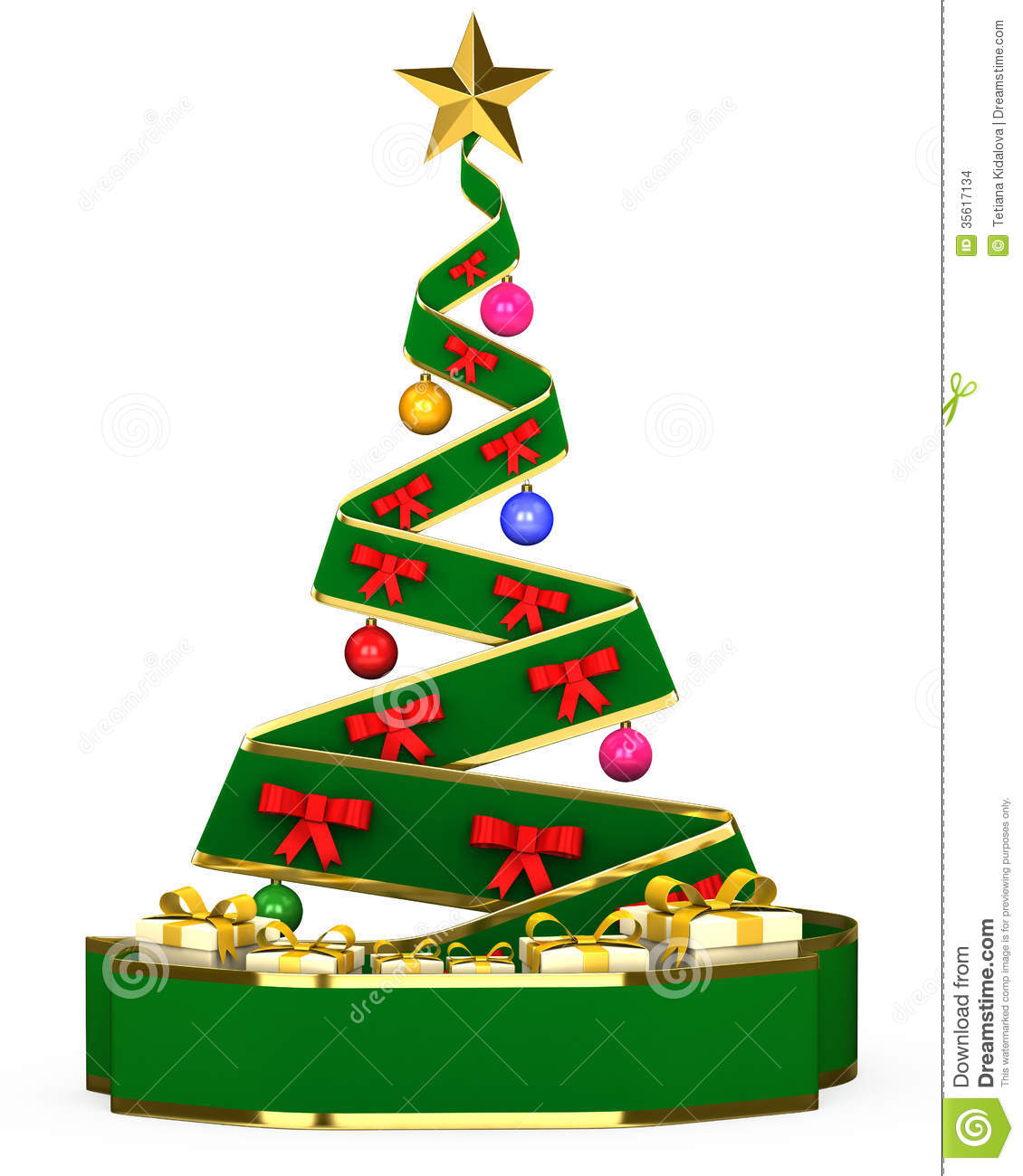 Christmas Tree With Toys : D christmas tree with toys and gifts stock photo image