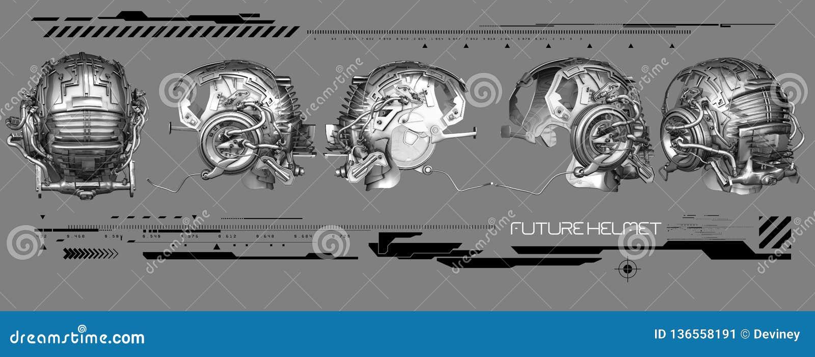 3D chrome helmet illustration