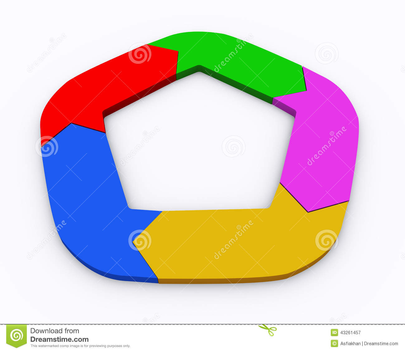 3d illustration of colorful moving circular arrow flow chart
