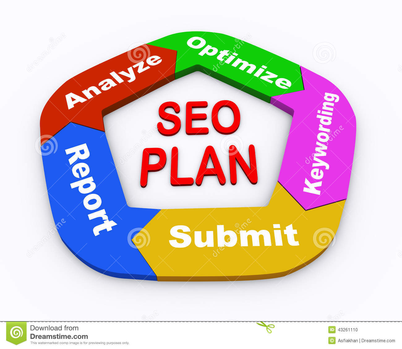 3d circle arrow chart seo plan stock illustration image for 3d search engine