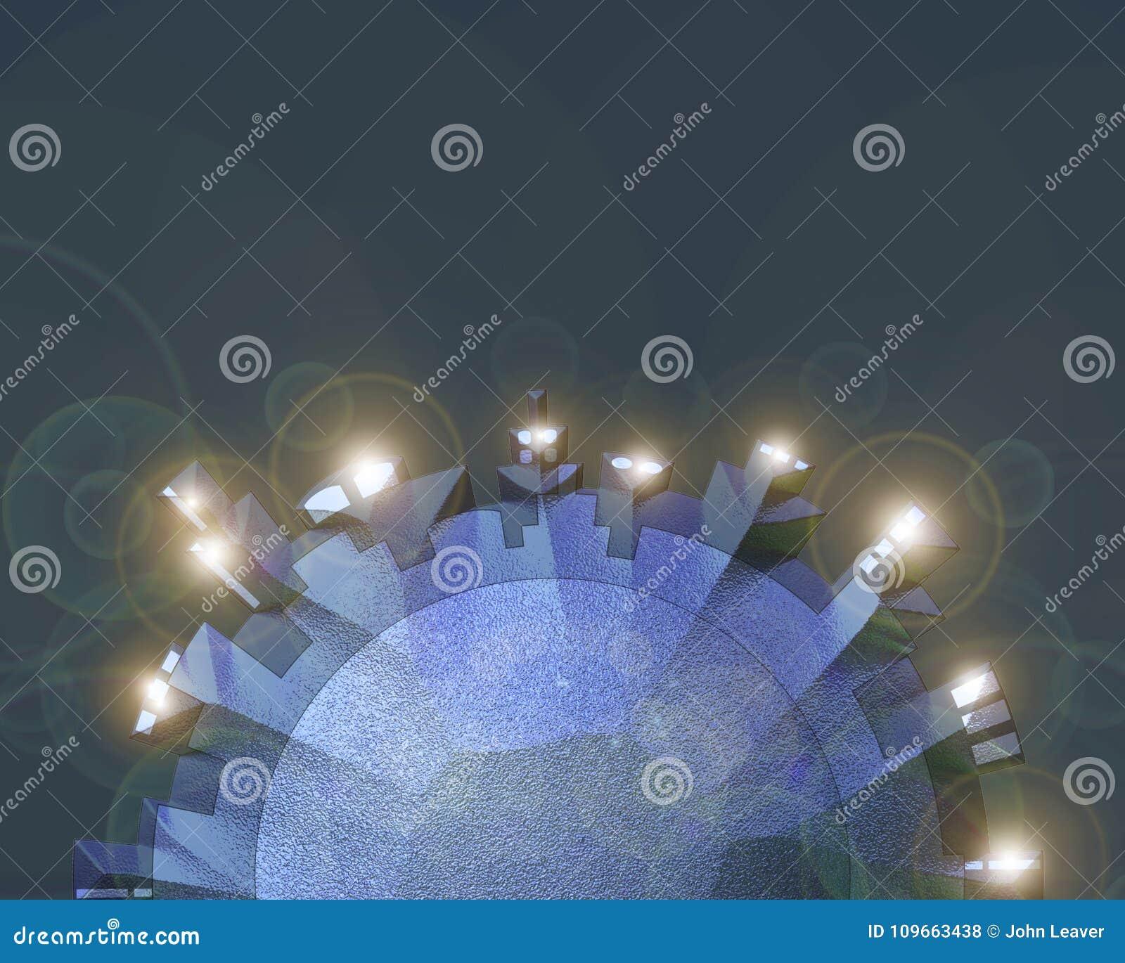 3D cirkelcityscape