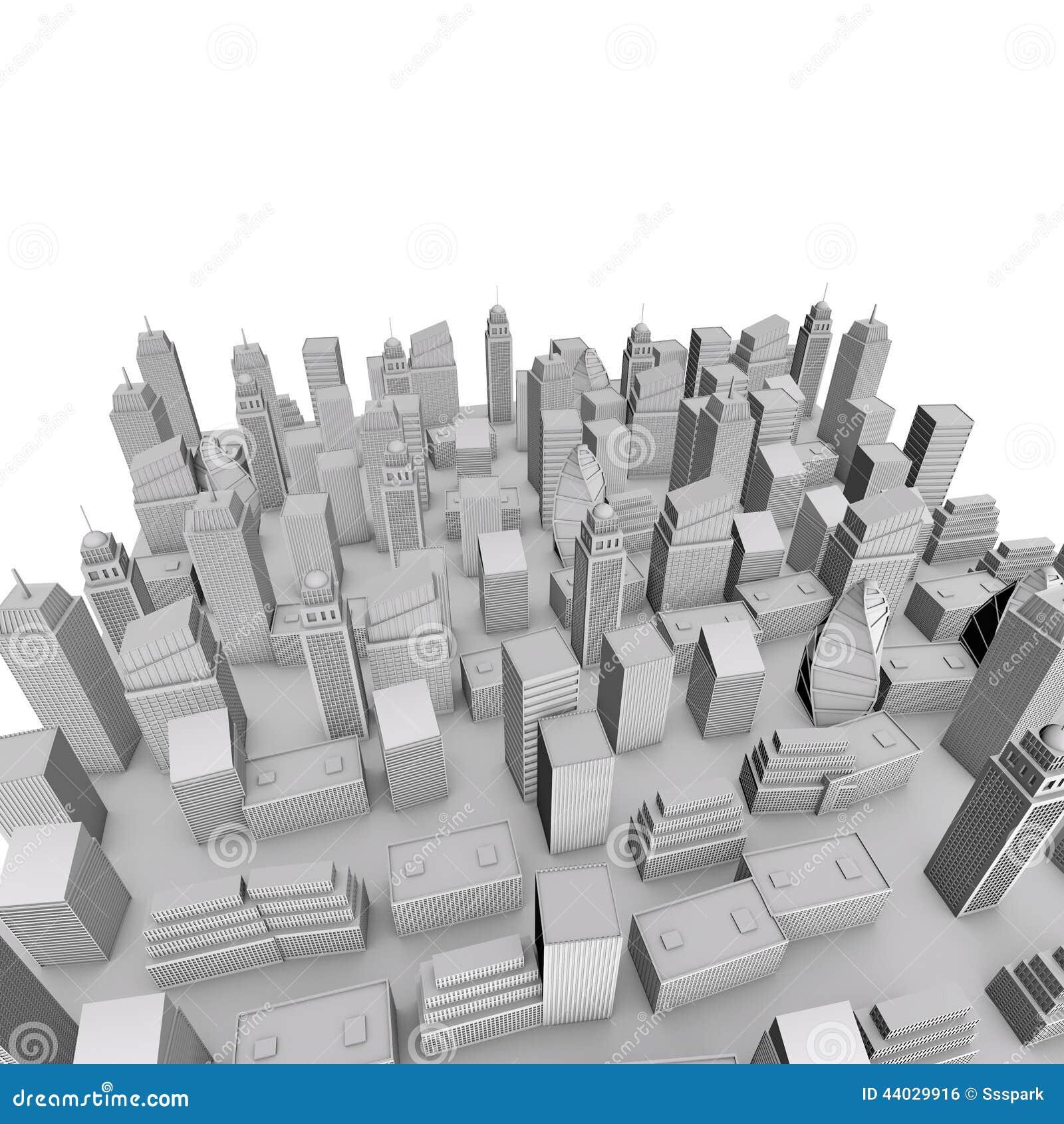 3D City Model stock illustration  Illustration of manhattan