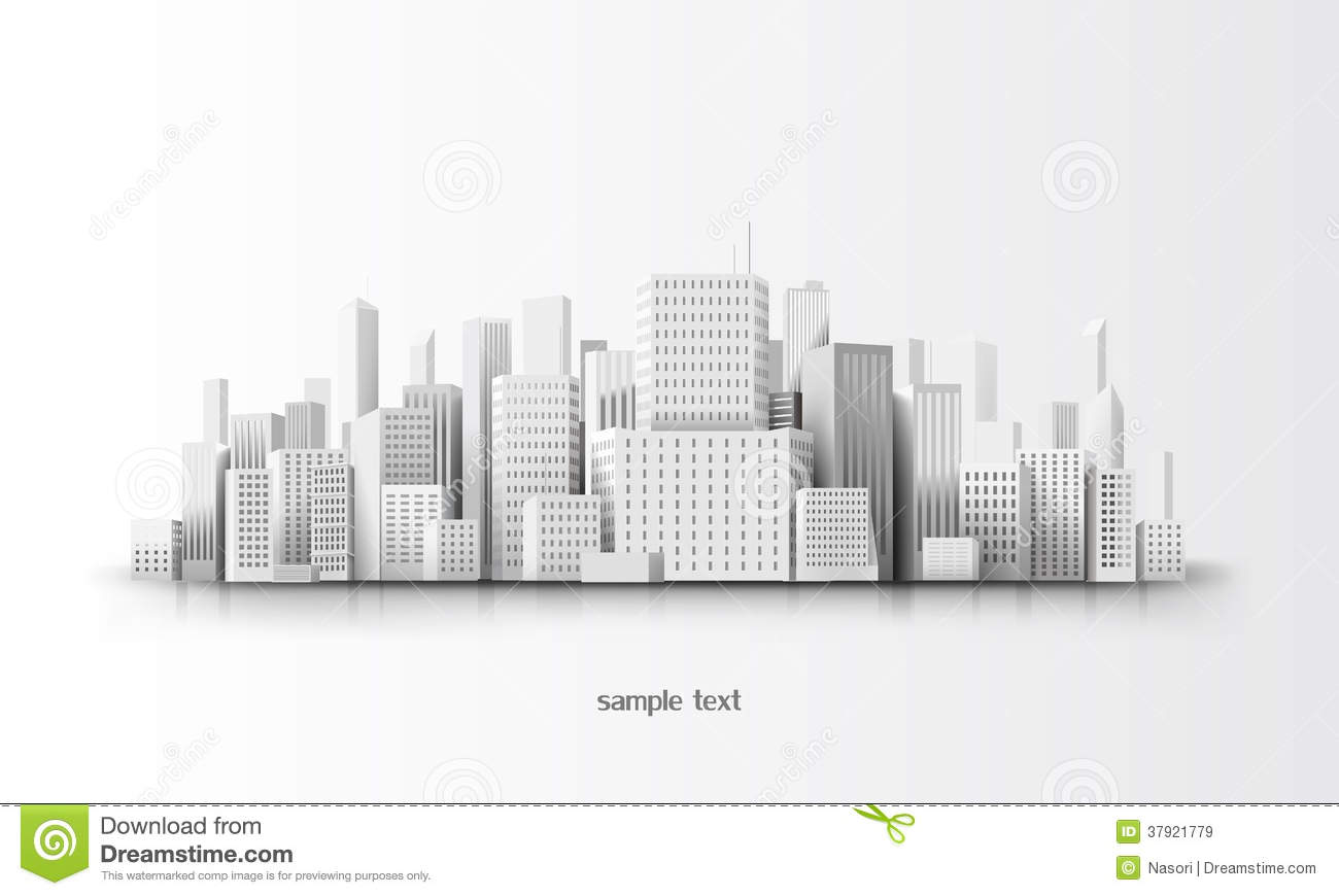 Town Landscape Vector Illustration: 3d City Royalty Free Stock Images