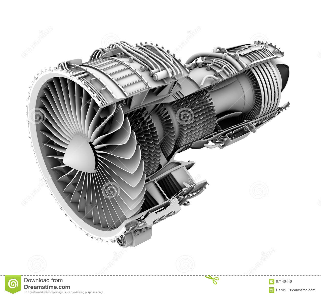 3D Clay Cutaway Render Of Turbofan Jet Engine Isolated On