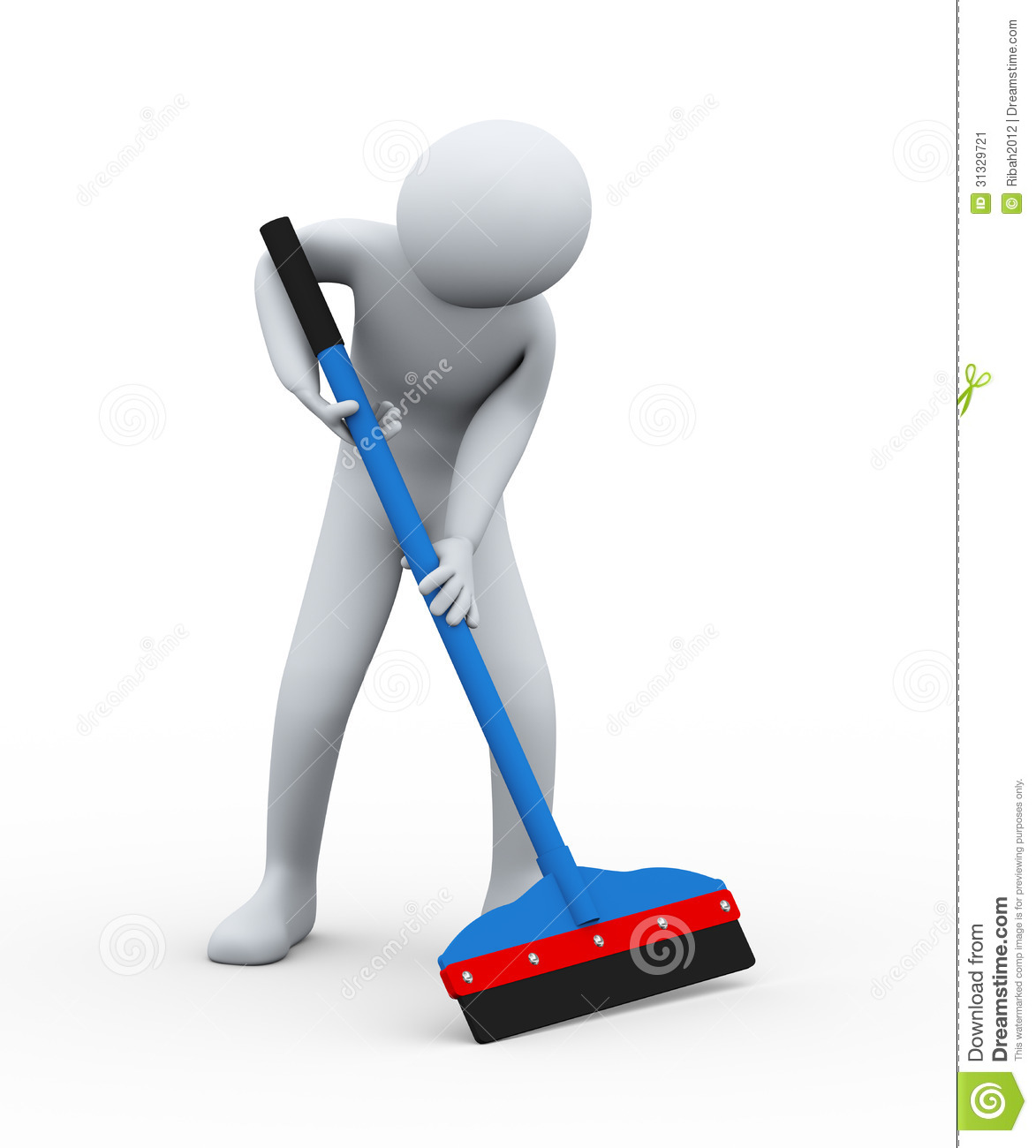 3d illustration of cleaner man with floor wiper at work. 3d rendering ...